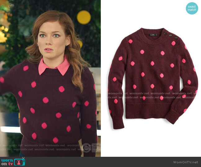 Button Detail Supersoft Dot Crewneck Sweater by J. Crew worn by Zoey Clarke (Jane Levy) on Zoeys Extraordinary Playlist