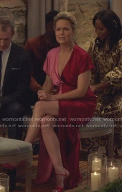 Jacqueline's red and pink two-tone gown on The Bold Type