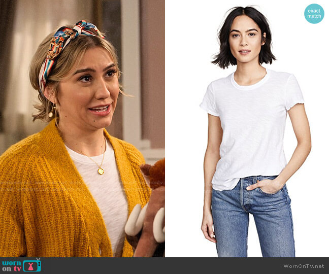 James Perse Sheer Slub Crew Neck Tee worn by Ava Germaine (Chelsea Kane) on The Expanding Universe of Ashley Garcia