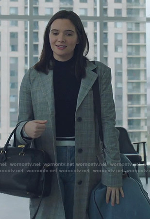 Jane's grey plaid coat on The Bold Type