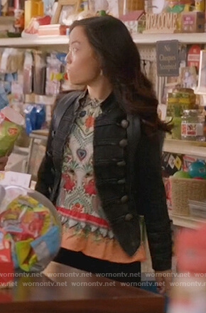 Janet's black military jacket on Kims Convenience