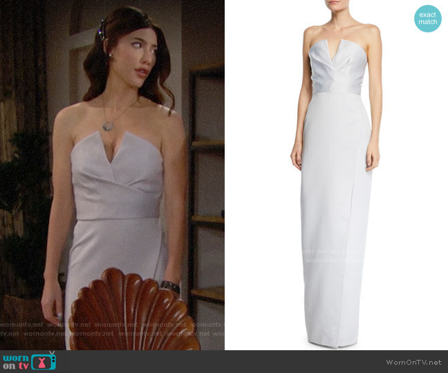 Jay Godfrey Darcy Strapless V-Neck Gown w/ Slit worn by Steffy Forrester (Jacqueline MacInnes Wood) on The Bold & the Beautiful
