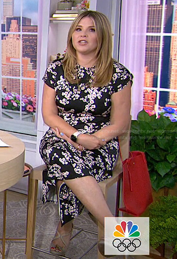 Jenna's black floral dress with o-ring belt on Today