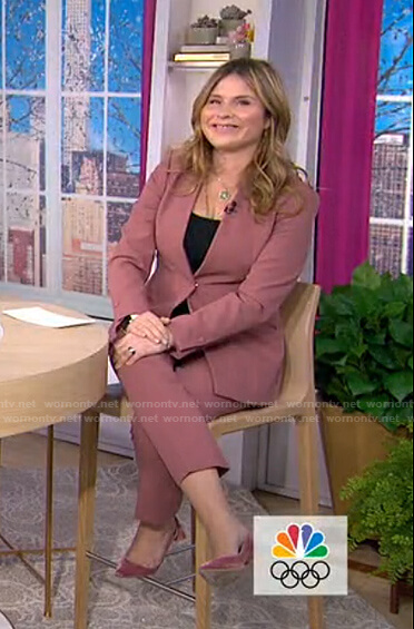 Jenna's pink lapelless suit on Today