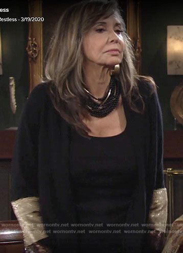 Jill's black cardigan with sequin sleeves on The Young and the Restless