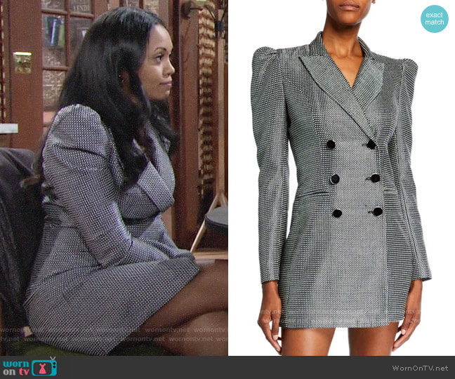 JILL Jill Stuart Blake Tuxedo Dress worn by Amanda Sinclair (Mishael Morgan) on The Young & the Restless