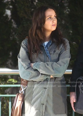 Jo's green patchwork utility jacket on Greys Anatomy