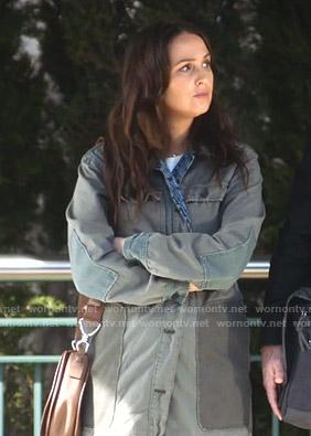 Jo's green patchwork utility jacket on Greys Anatomy