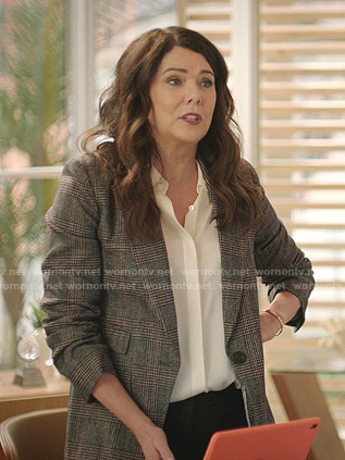 Joan's grey plaid ruched sleeve blazer on Zoeys Extraordinary Playlist
