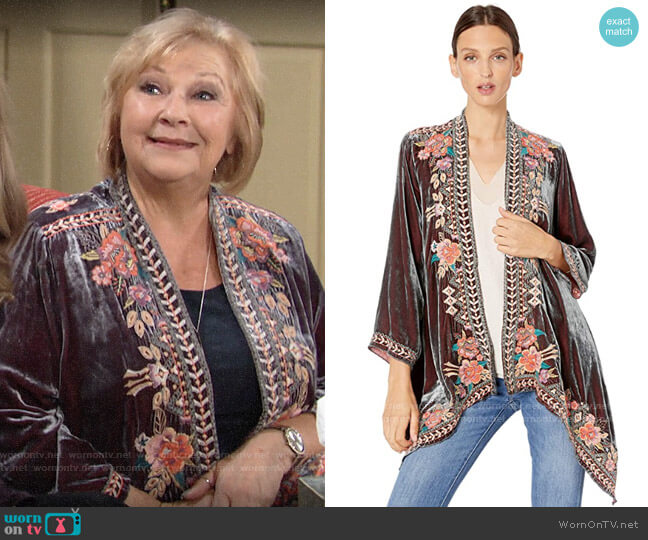 Johnny Was Velvet Draped Cardigan worn by Traci Abbott (Beth Maitland) on The Young & the Restless