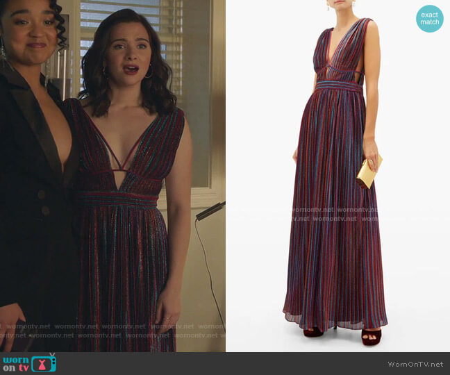 Striped Plunging V-neck Pleated-Lamé Maxi Dress by Jonathan Simkhai worn by Jane Sloan (Katie Stevens) on The Bold Type