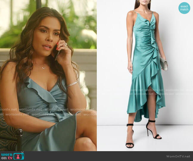 Fitted Ruffle Dress by Jonathan Simkhai worn by Cristal Jennings (Daniella Alonso) on Dynasty