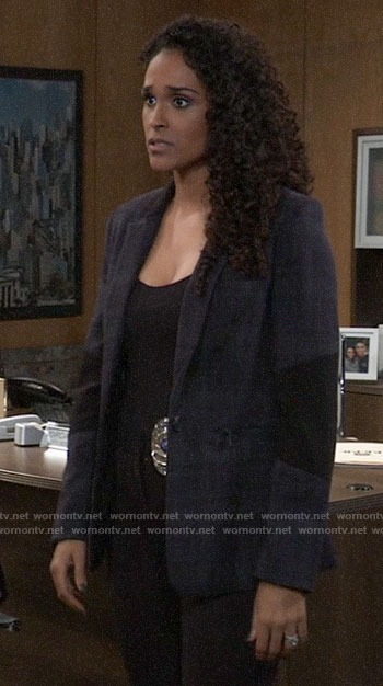 Jordan's plaid blazer with black panels on General Hospital
