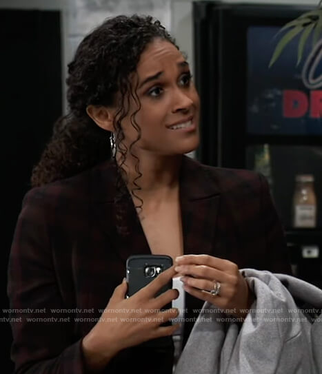Jordan's plaid double-breasted blazer on General Hospital
