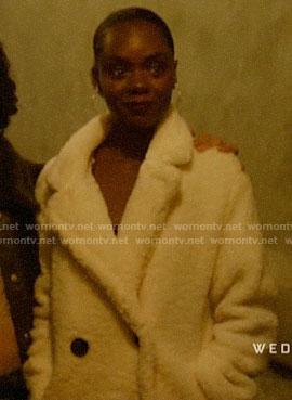 Josie's white teddy double breasted coat on Katy Keene