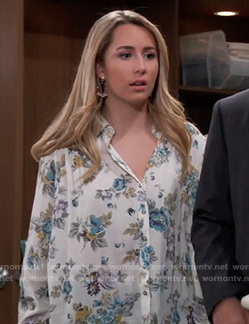Josslyn's white floral button down blouse on General Hospital