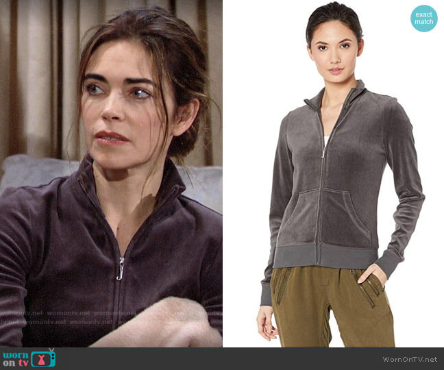 Juicy Couture Velour Fairfax Fitted Jacket worn by Victoria Newman (Amelia Heinle) on The Young & the Restless