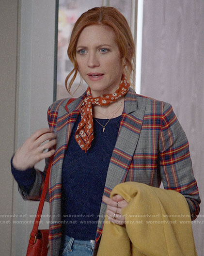 Julia's plaid blazer, navy sweater and daisy print scarf on Almost Family