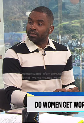 Justin's black and white striped polo shirt on E! News Daily Pop