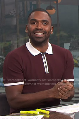 Justin's burgundy contrast trim polo shirt on E! News Daily Pop