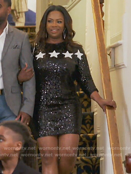 Kandi's black star sequin dress on The Real Housewives of Atlanta
