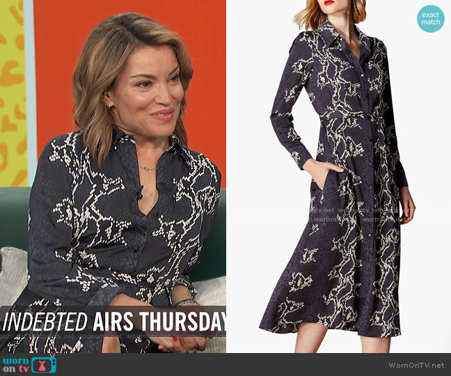 Snake Print Midi Shirt Dress by Karen Millen worn by Kit Hoover  on Access Hollywood