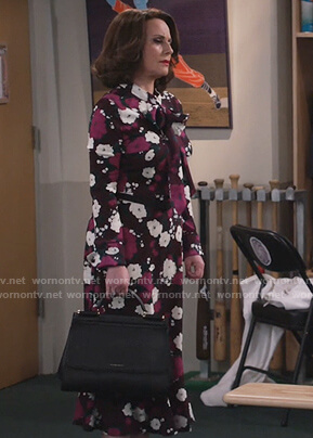 Karen's burgundy floral midi dress on Will and Grace