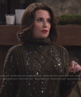 Karen's green embellished cable knit sweater on Will and Grace