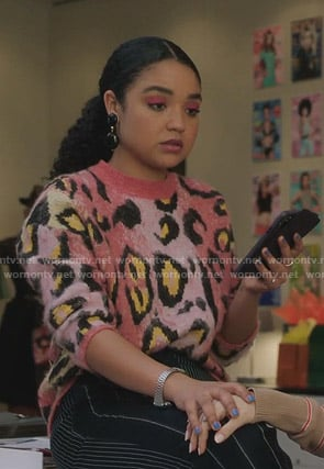 Kat's pink leopard sweater on The Bold Type