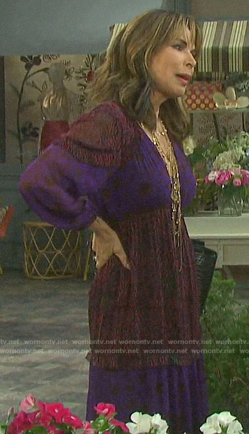 Kate's purple mixed print dress on Days of our Lives