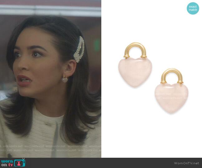 Gold-Tone Stone Heart Stud Earrings by Kate Spade worn by Bess (Maddison Jaizani) on Nancy Drew