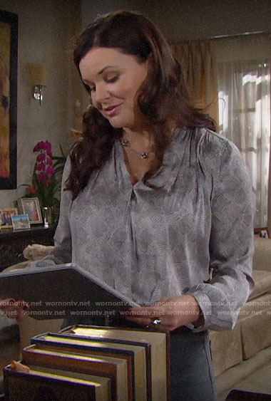 Katie's grey snake print blouse on The Bold and the Beautiful