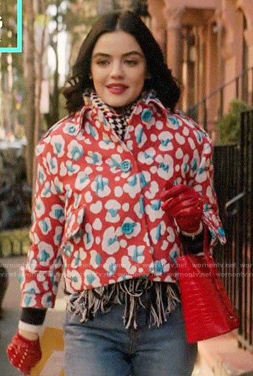 Katy's red and blue cropped leopard print jacket on Katy Keene