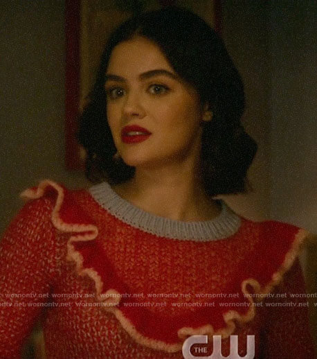 Katy's red and blue ruffled sweater on Katy Keene