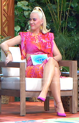 Katy Perry's pink tropical print dress on American Idol