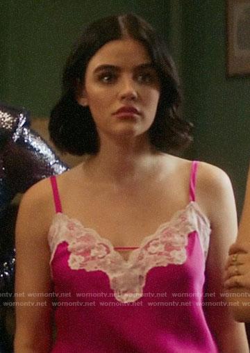 Katy's pink lace trim cami on Katy Keene