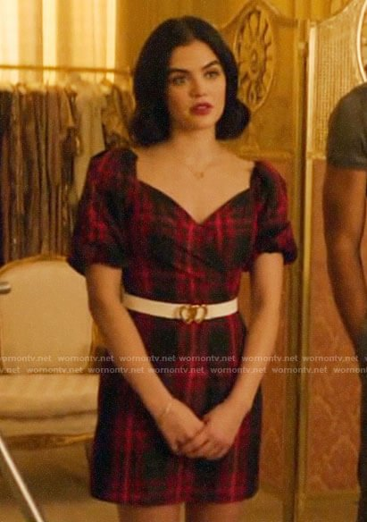 Katy's red plaid puff-sleeve dress on Katy Keene