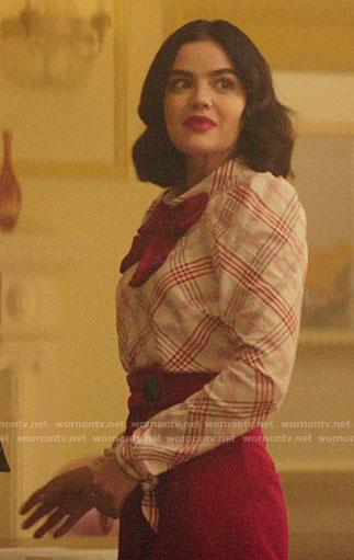 Katy's red plaid puff sleeve top on Katy Keene