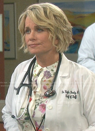 Kayla's white floral button down blouse on Days of our Lives