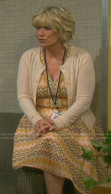 Kayla's yellow striped v-neck dress on Days of our Lives