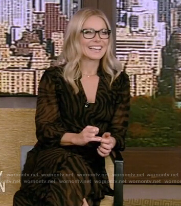 Kelly's brown zebra print dress on Live with Kelly and Ryan