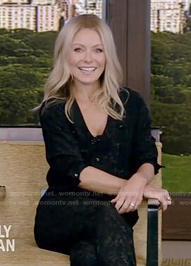 Kelly's black button front jumpsuit on Live with Kelly and Ryan