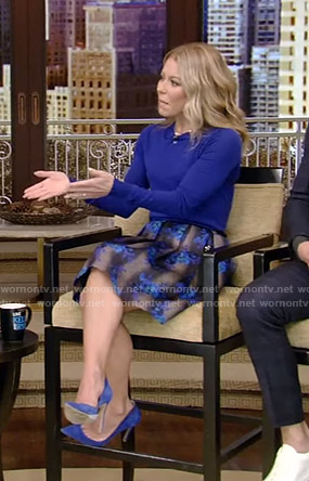 Kelly's blue sweater and floral skirt on Live with Kelly and Ryan