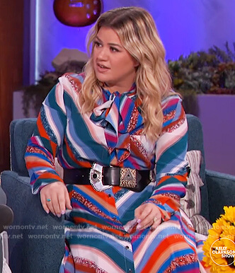 Kelly's stripe blouse and skirt on The Kelly Clarkson Show