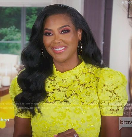 Kenya's yellow lace shift dress on The Real Housewives of Atlanta