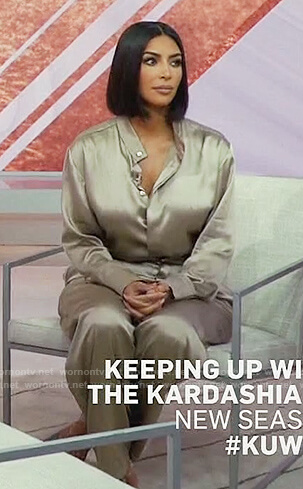Kim's satin blouse and pants on Keeping Up with the Kardashians