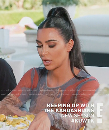 Kim's virgin and baby printed top on Keeping Up with the Kardashians