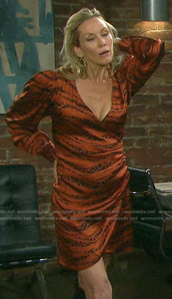 Kristen's orange tiger print dress on Days of our Lives