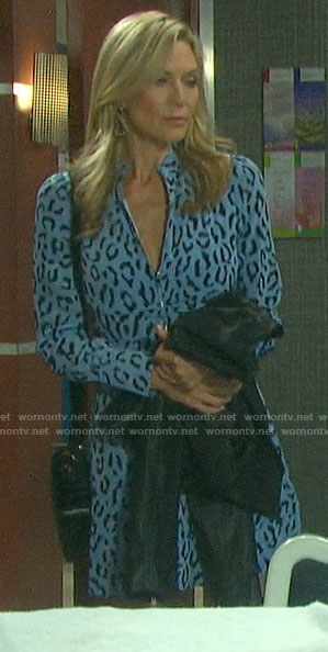Kristen's blue leopard print zip-front dress on Days of our Lives