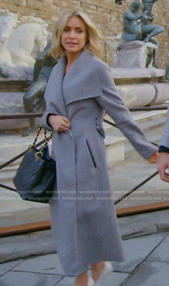 Kristin's grey wrap coat in Italy on Very Cavallari